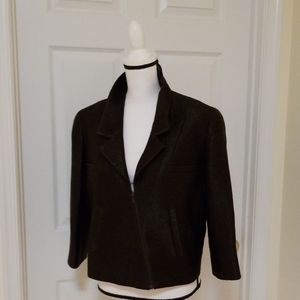 CHANEL Mahogany Brown Assymetrical Zip Blazer 44